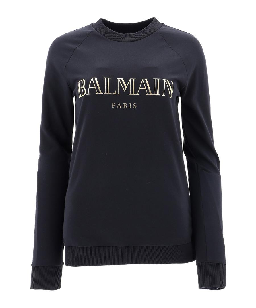 black pure cotton logo jumper Sale - Balmain