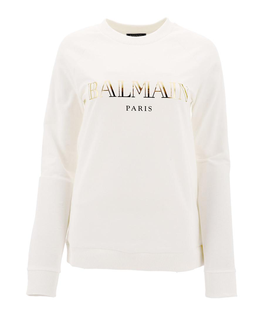 chalk pure cotton logo jumper Sale - balmain