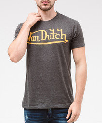 Slate & gold pure cotton logo T-shirt