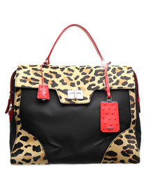 Nylon & leather leopard print grab bag
