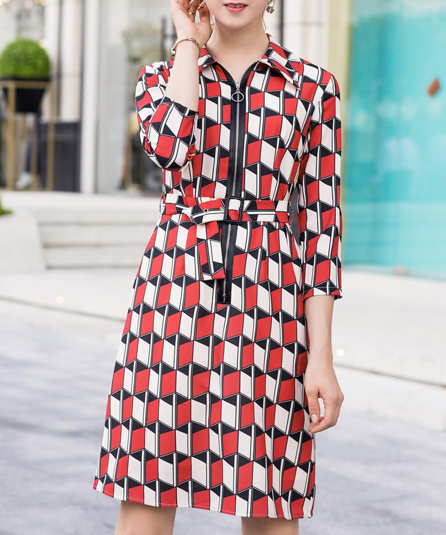 Red geo zip mini dress Sale - ellesay