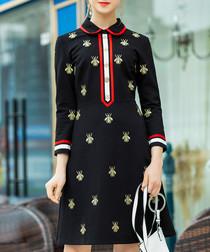 Black bee cotton blend collar dress