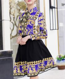 black & blue brocade A-line mini dress