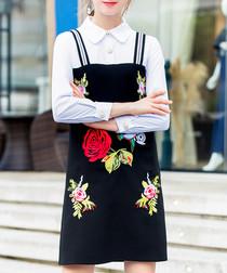 Black rose contrast mini dress