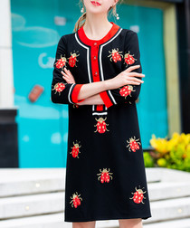 Black ladybird mini dress