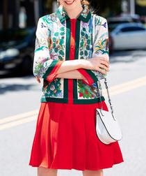 Red & green pleated mini dress