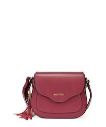 berry leather tassel shoulder bag