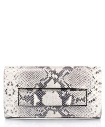 Grey snake-effect clutch bag