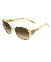 Cream marbled rounded sunglasses