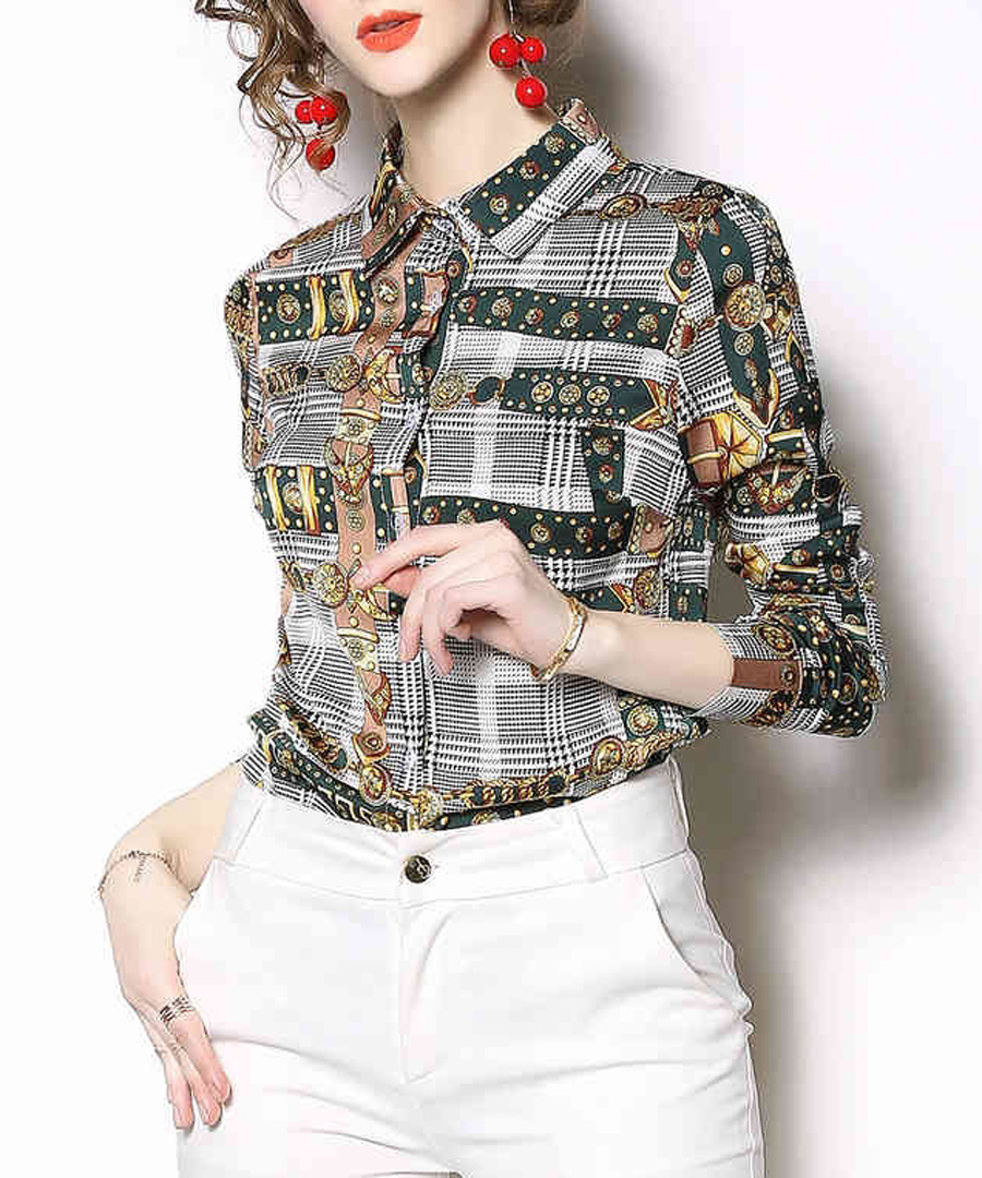 Grey & yellow multi-check blouse Sale - Kaimilan