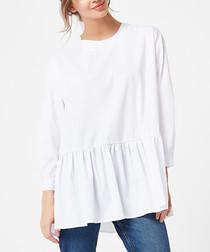 White cotton blend pleat tunic