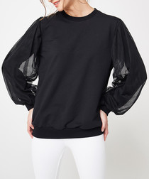 Black cotton sheer sleeve jumper