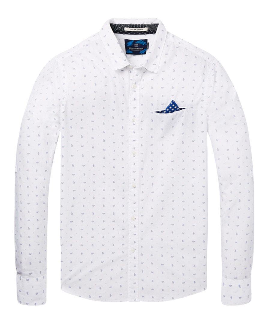 White & blue cotton long sleeve shirt Sale - scotch & soda