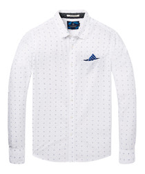 White & blue cotton long sleeve shirt