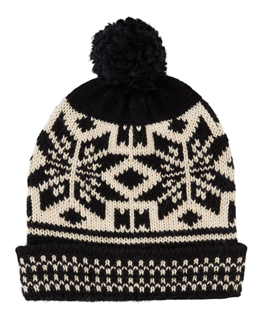 Black & cream fairisle bobble hat Sale - scotch & soda