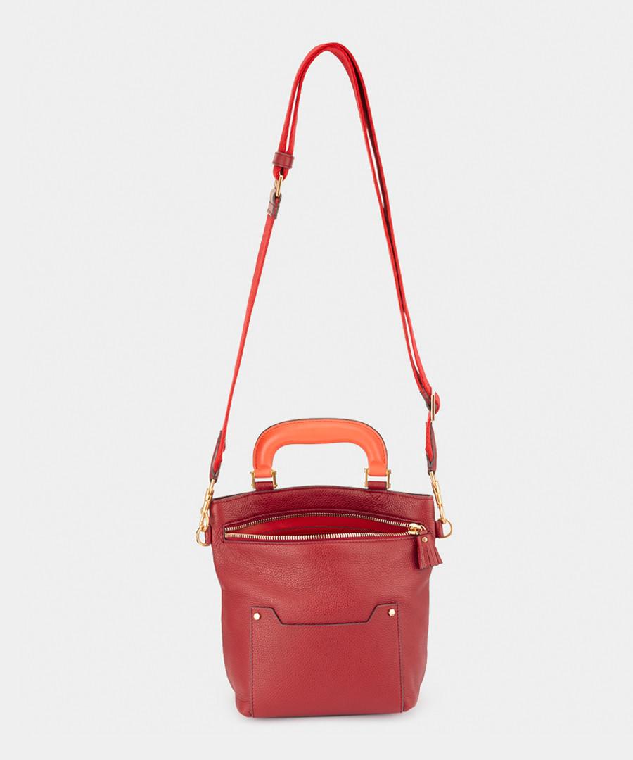 Mini Orsett red cowhide bucket bag Sale - anya hindmarch