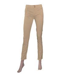 Beige cotton stretch skinny jeans