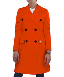 orange wool double-breast coat