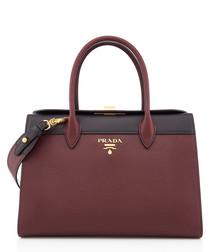 Burgandy & Black Saffiano leather grab bag