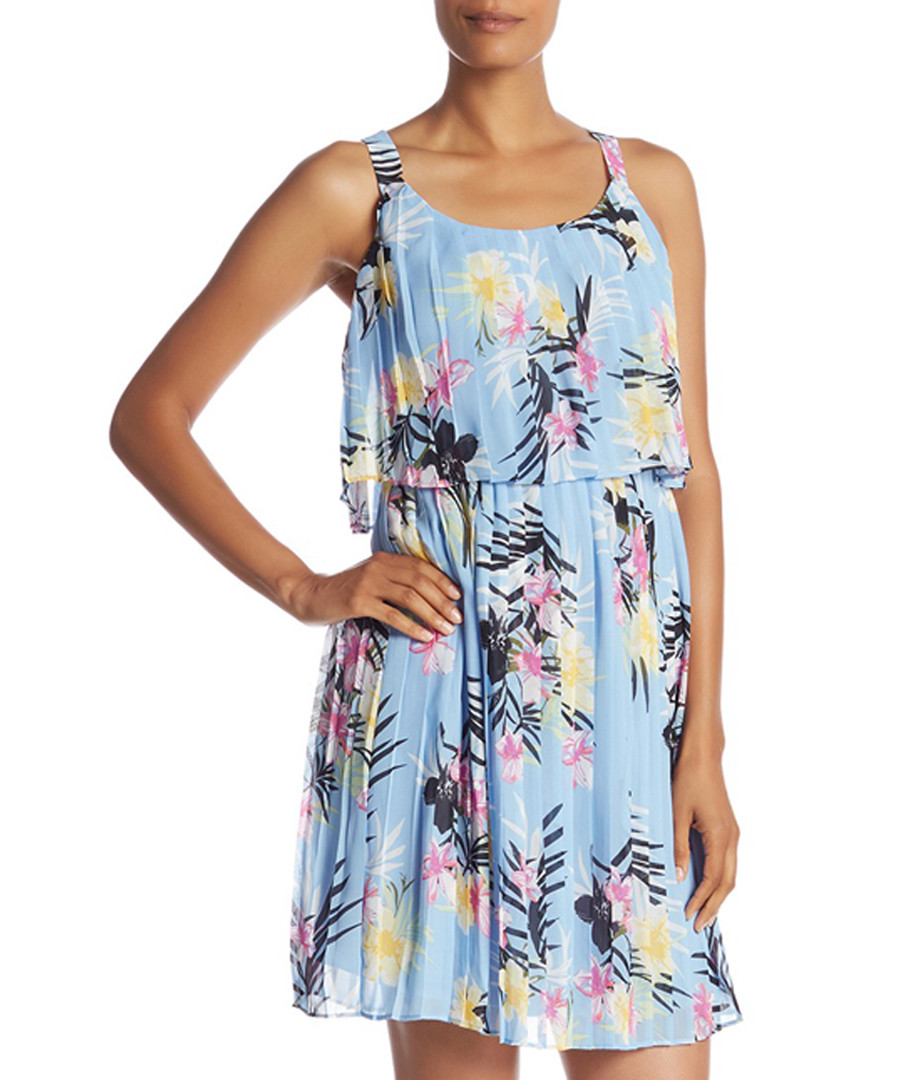Blue tropical print pleated mini dress Sale - new york collective