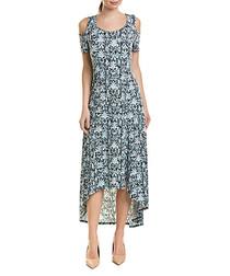 Turquoise print cold-shoulder dress