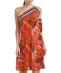 Red print one-shoulder dress