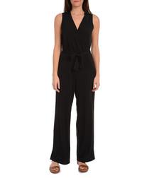Black sleeveless tie-waist jumpsuit
