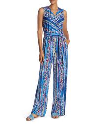 Blue sleeveless tie-waist jumpsuit
