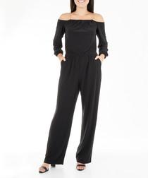 Black off-the-shoulder jumpsuit