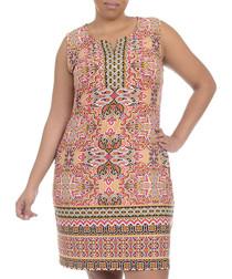 Gold sleeveless zip-front dress