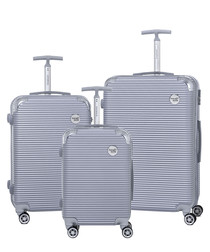 3pc silver-tone luggage set