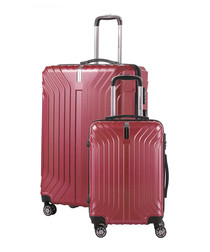2pc berry red luggage set