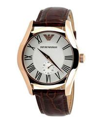 Walnut leather numeral watch