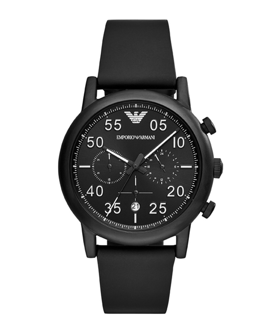 Blackout steel & leather watch Sale - emporio armani
