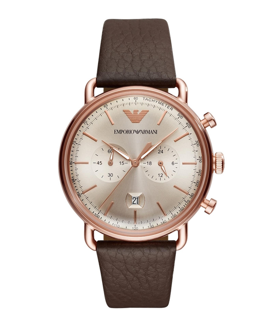 Brown leather & stainless steel watch Sale - emporio armani