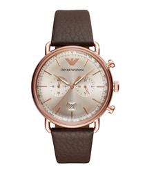 Brown leather & stainless steel watch