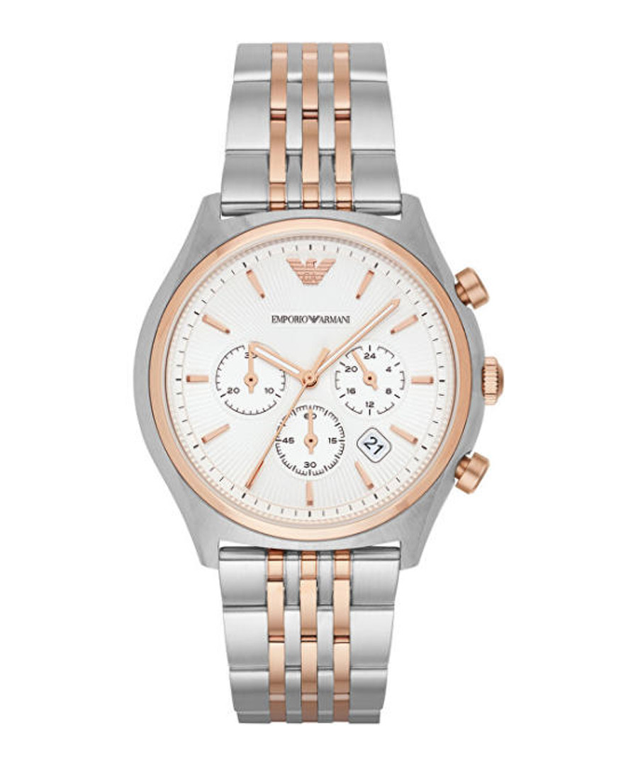 Two-tone steel chrono link watch Sale - emporio armani
