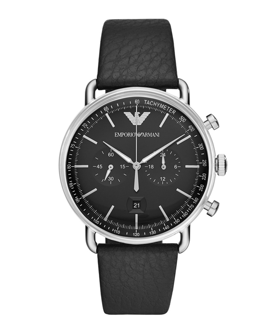 Steel & black leather watch Sale - emporio armani