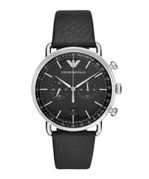 Steel & black leather watch