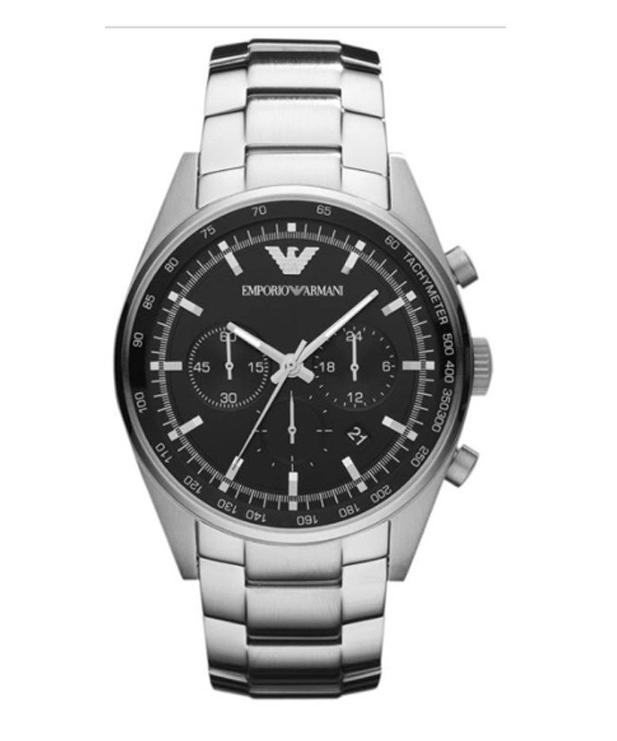 Black & stainless steel link watch Sale - emporio armani