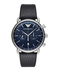Navy leather chrono watch
