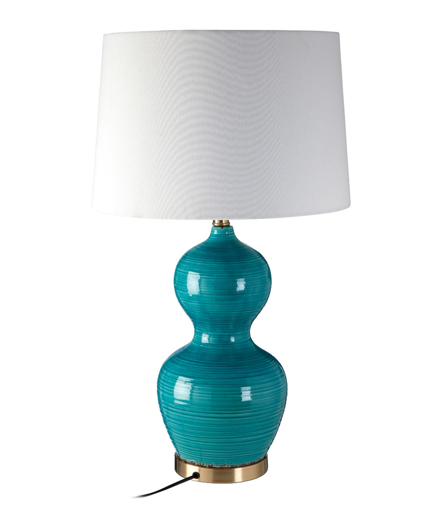 Aqua ceramic base table lamp Sale - premier