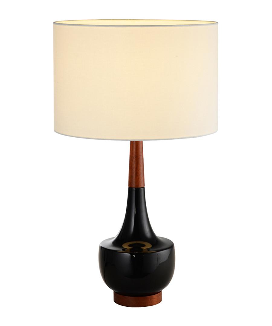 Black ceramic & linen table lamp Sale - premier