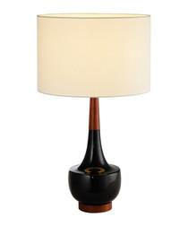 Black ceramic & linen table lamp