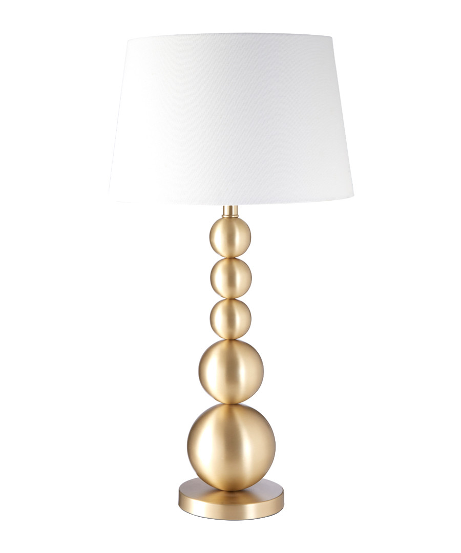Iron & linen stack table lamp Sale - premier