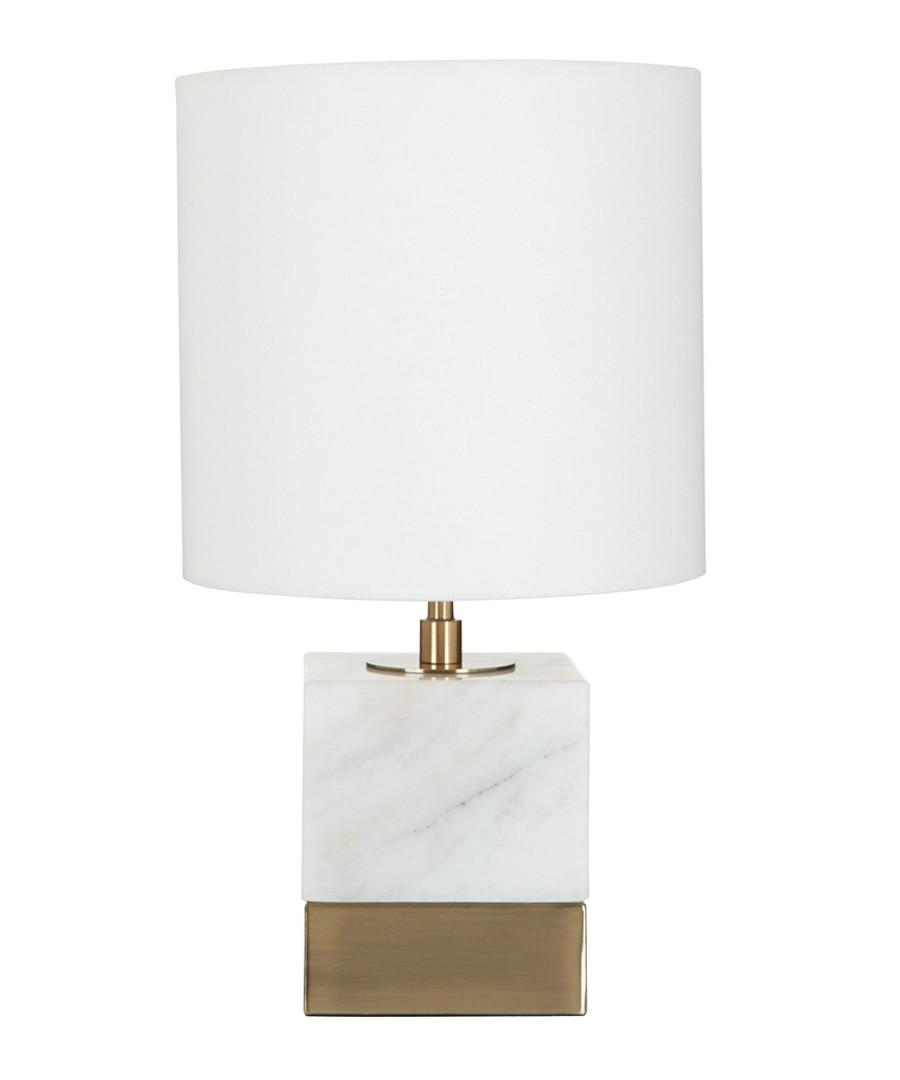 White marble & linen table lamp Sale - premier