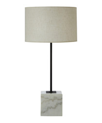 Murdoch linen & marble table lamp