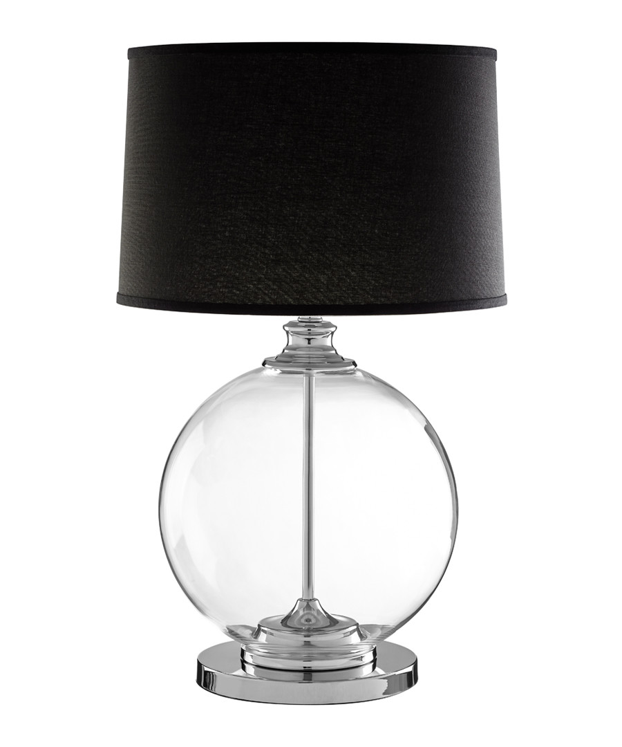 Edna glass & black linen table lamp Sale - premier