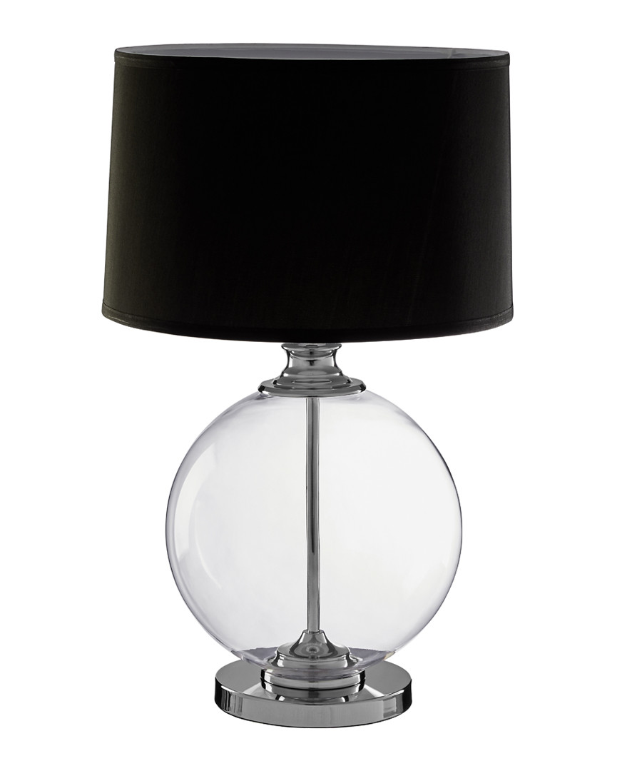 Edna Small Table Lamp, Clear Glass / Chrome, Black Silk Shade Sale - premier