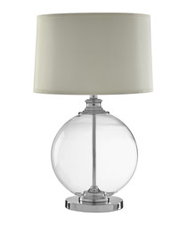 Edna glass & ash linen table lamp